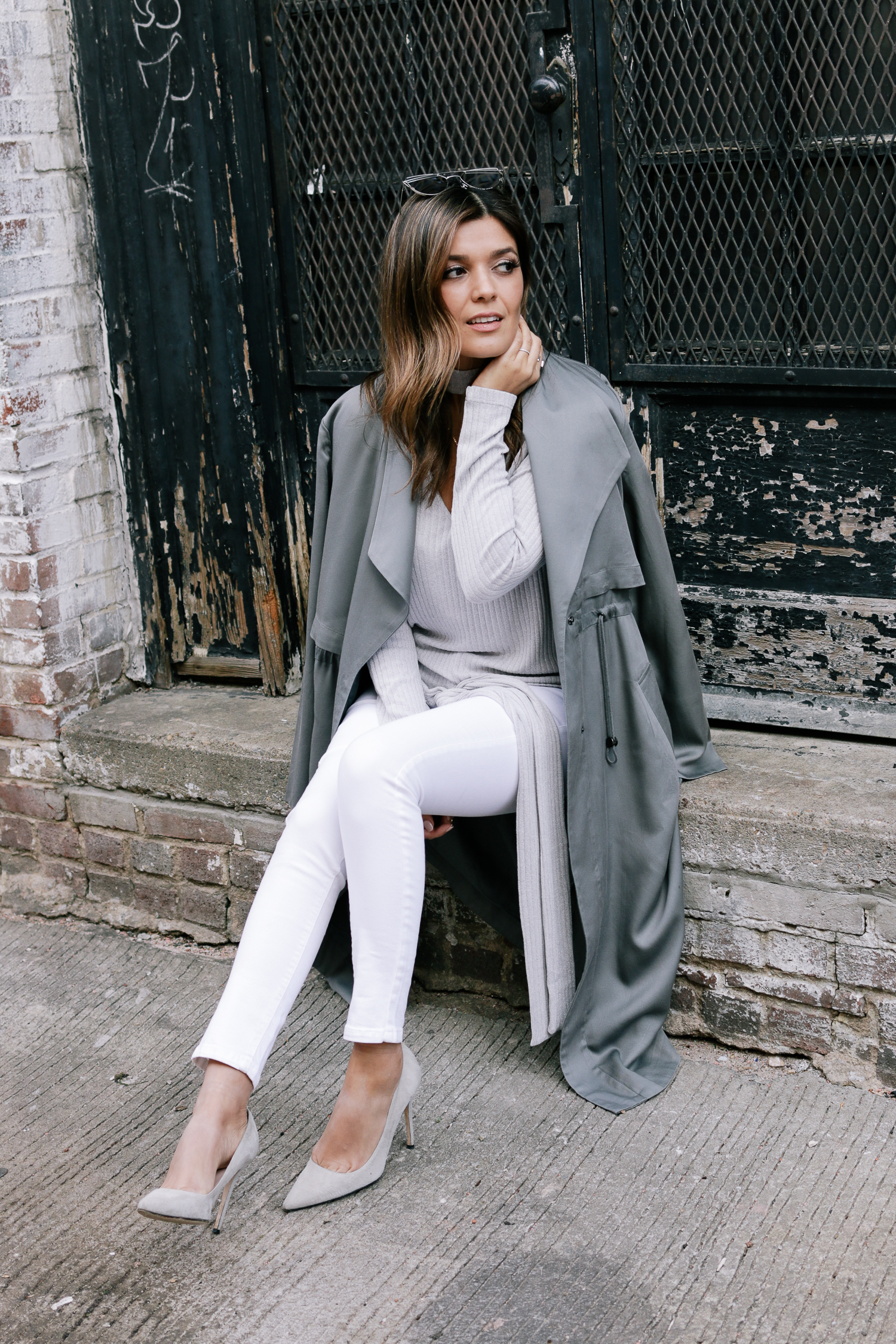 Green Trench and White Denim Look
