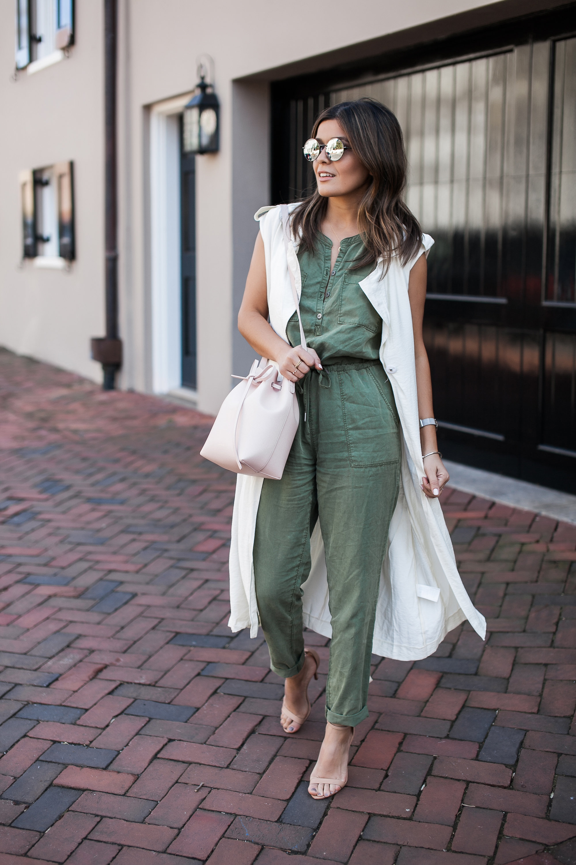 Camo Green Jumpsuit with long Vest