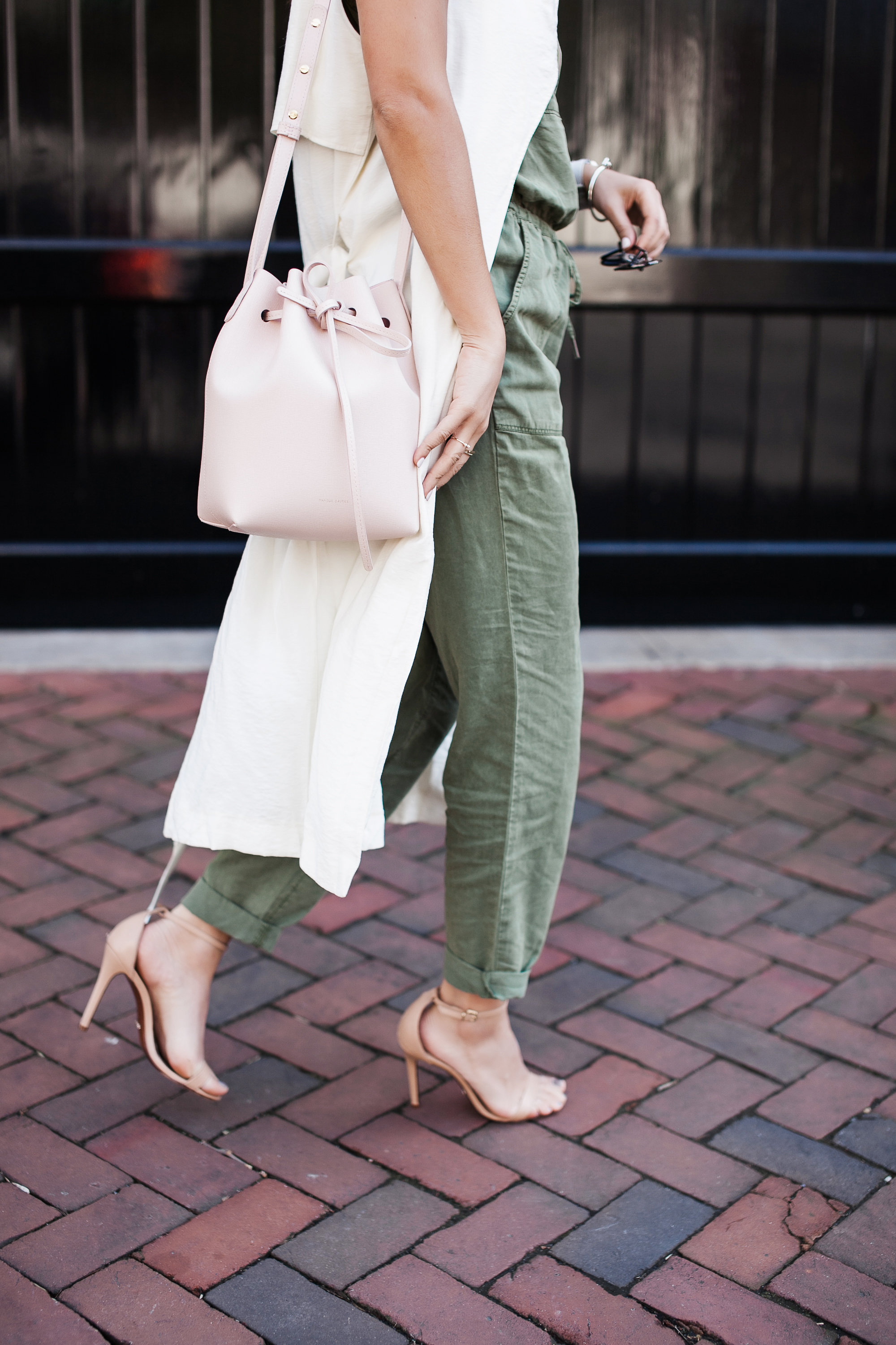 Long Vest and Pink Bucket Bag