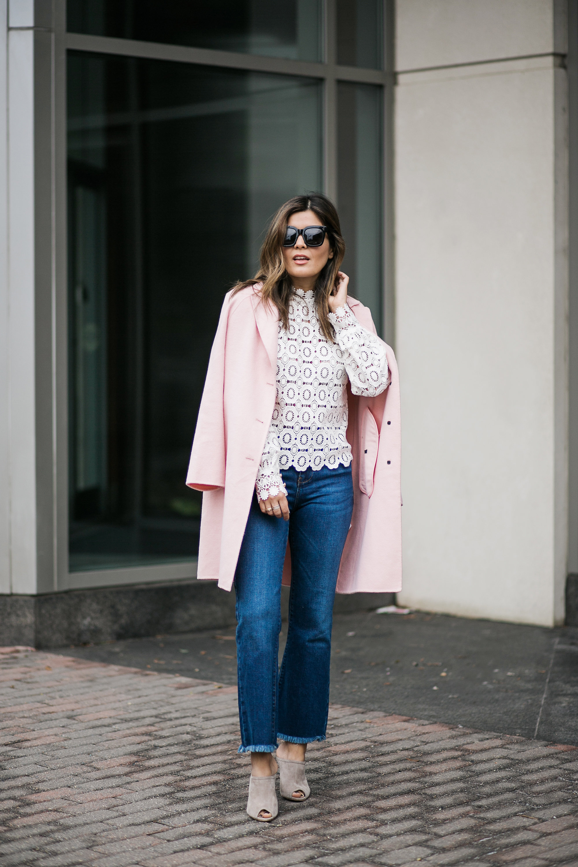 Pink Zara Coat and Lace Self Portrait Top