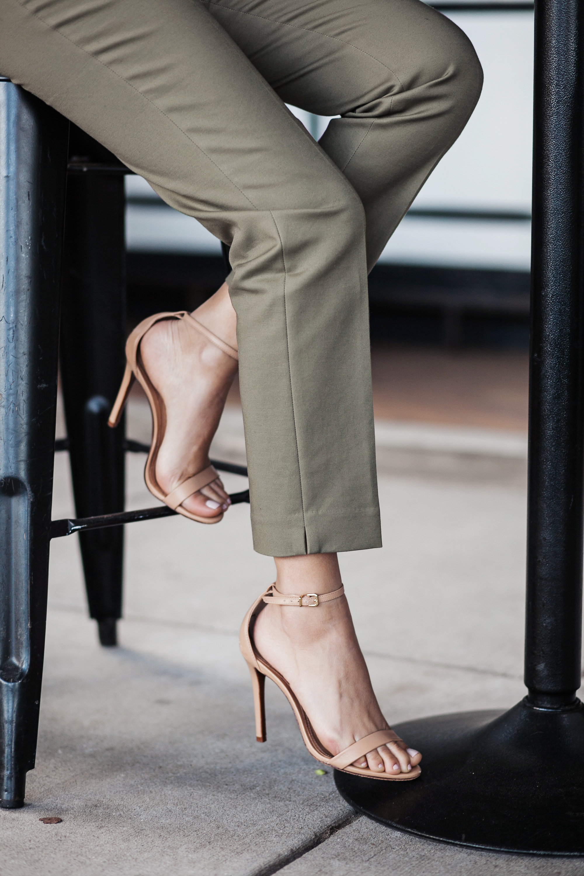 CeCe Collection pants and nude Schutz heels