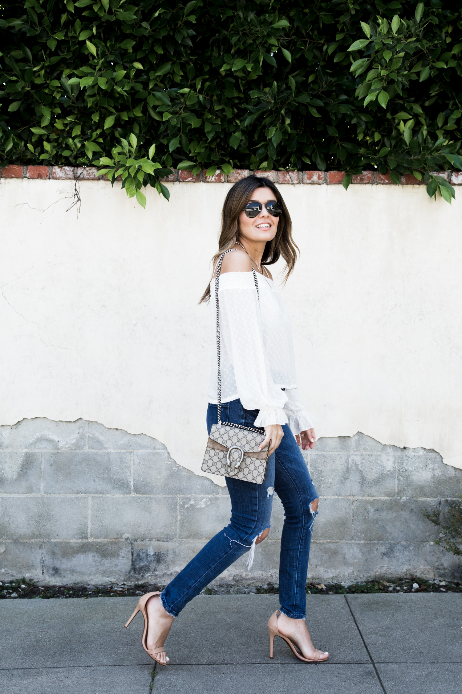 Off the shoulder top and denim look