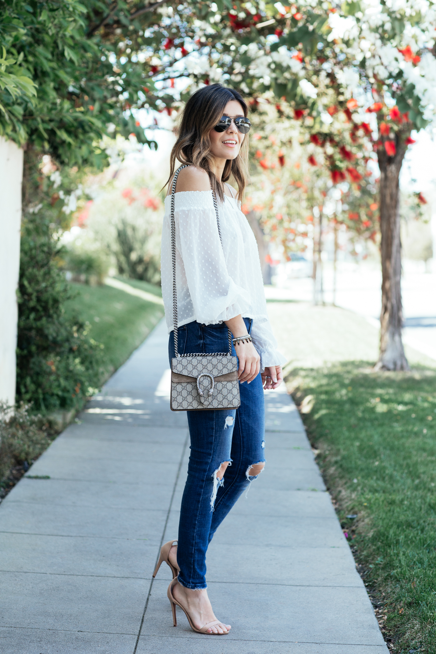 Denim and nude heels look