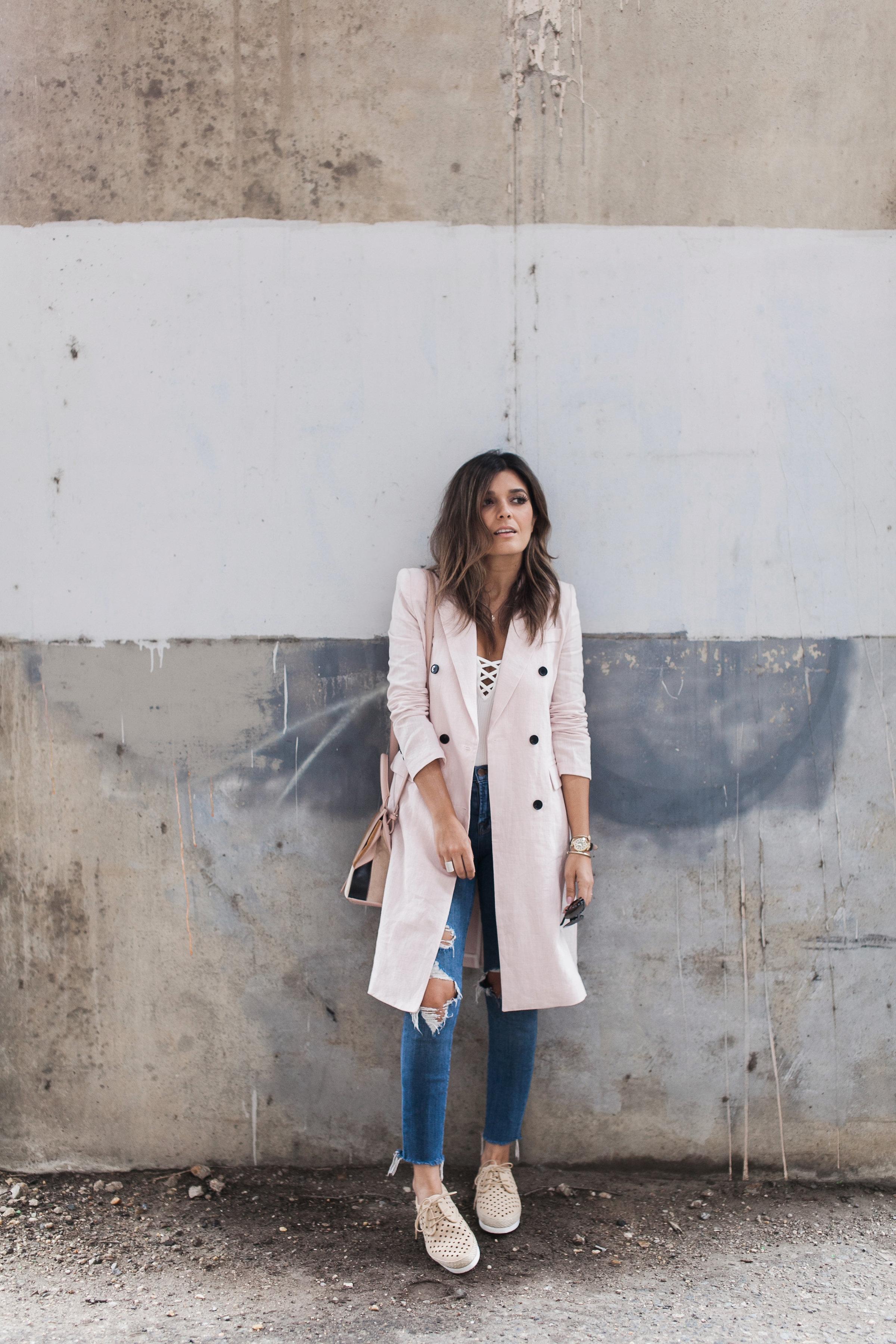 Storets Long Pink Linen Blazer