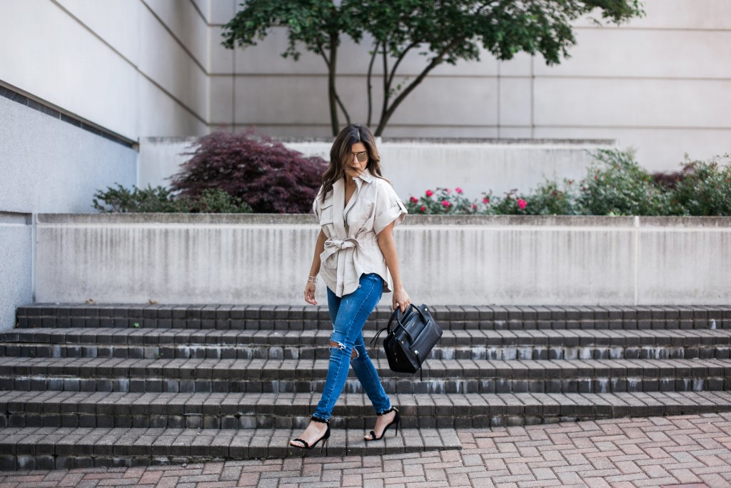 Louise et Cie Tote with Distressed Denim Look