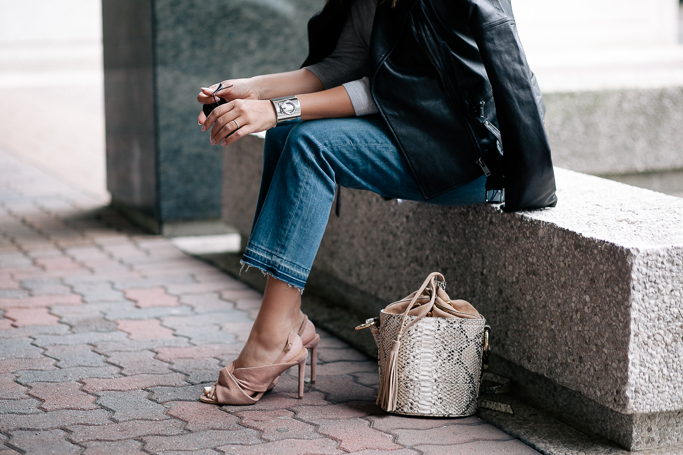 Silver Cuff and Blush Accessories from Banana Republic