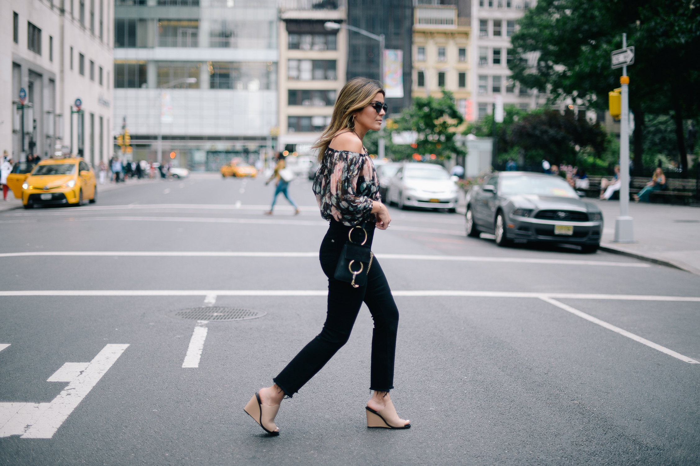 Style MBA wears Zimmermann Top with Black Flared Denim