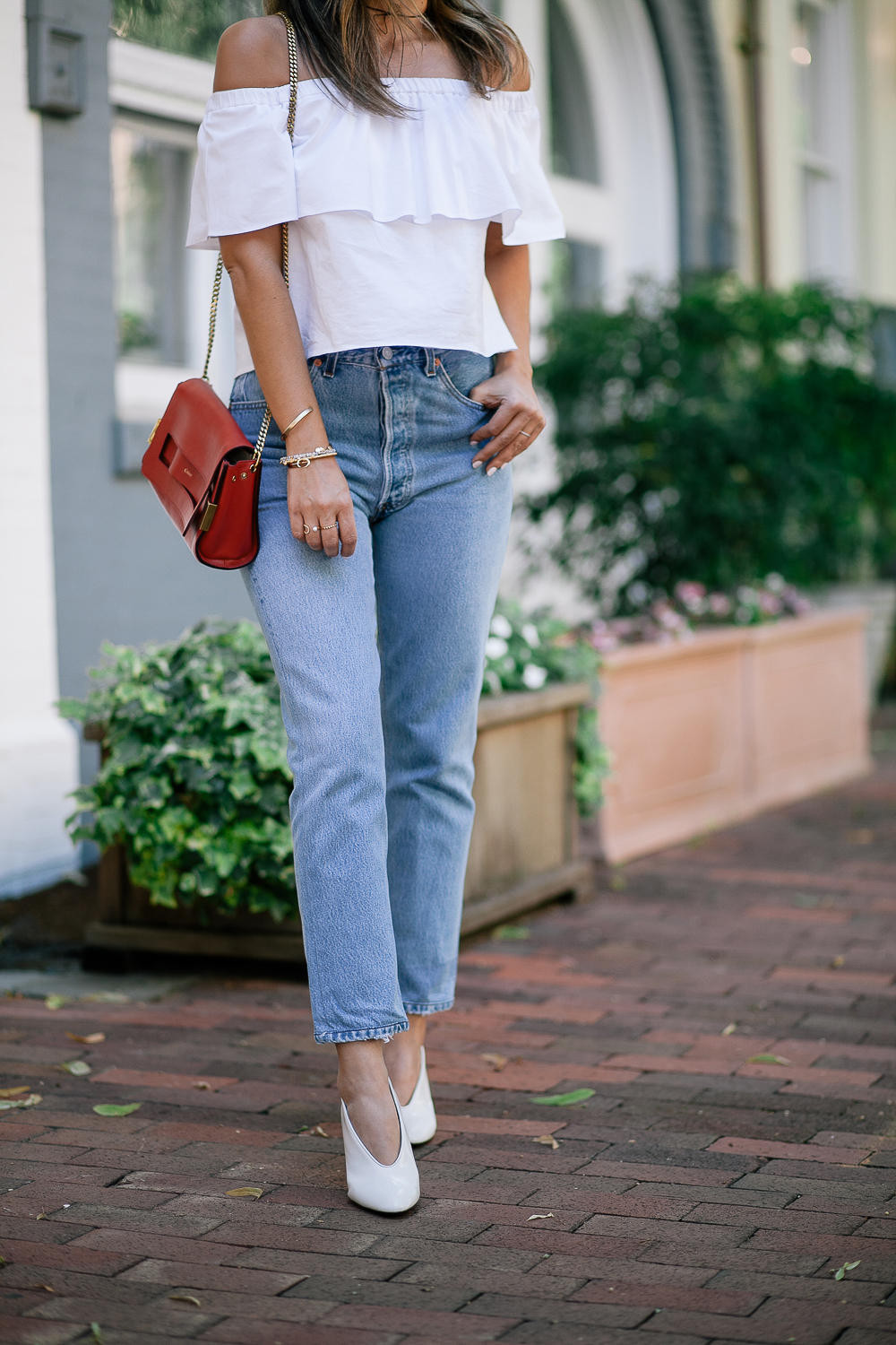 Style MBA wears RE/Done Denim and Lanvin Pumps