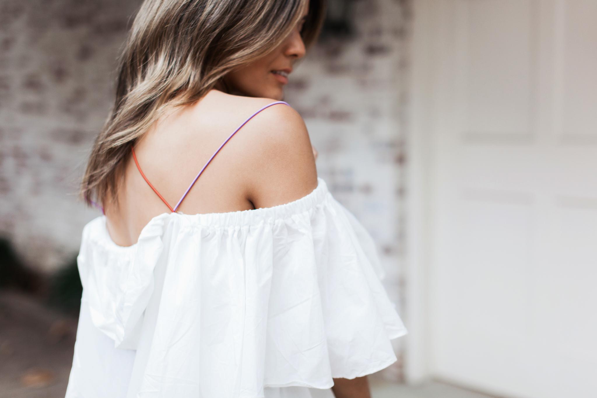 Style MBA Wears Storets Off the Shoulder Dress With Rainbow straps