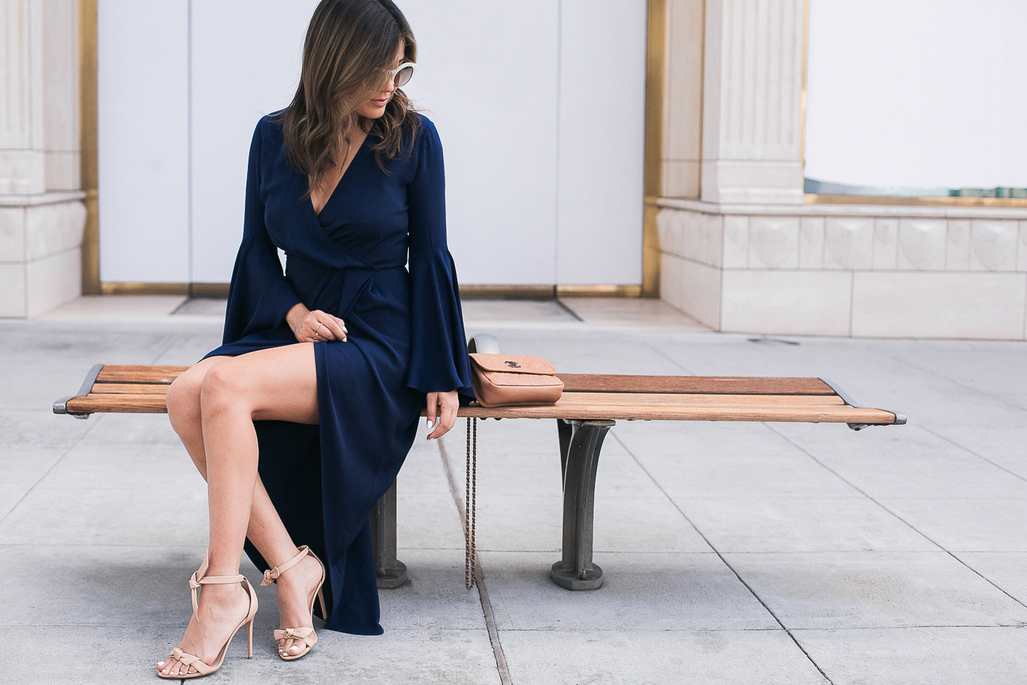 Style MBA Wears Bell Sleeve dress and nude heels