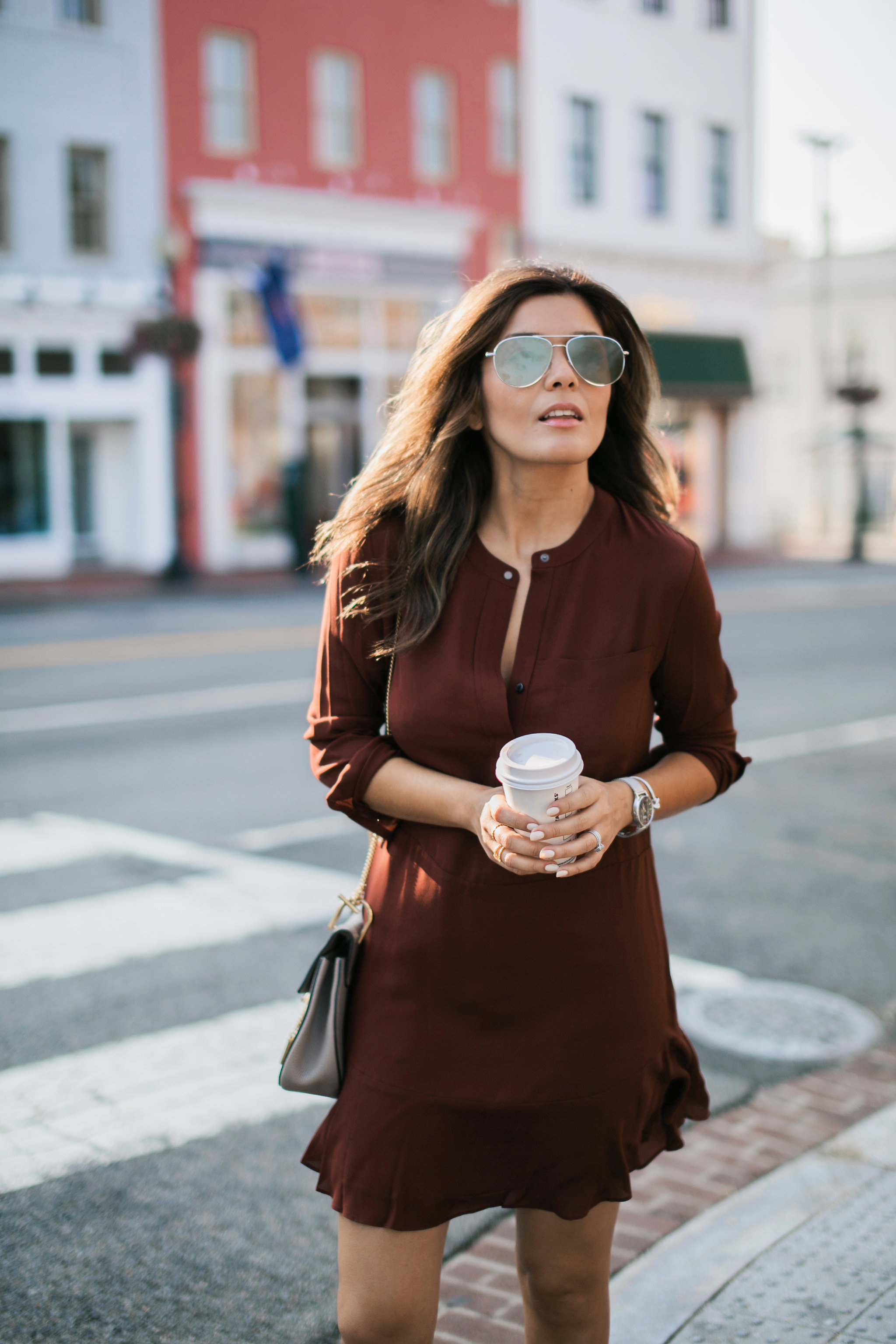 Style MBA wears Burgundy ALC Dress from Nordstrom