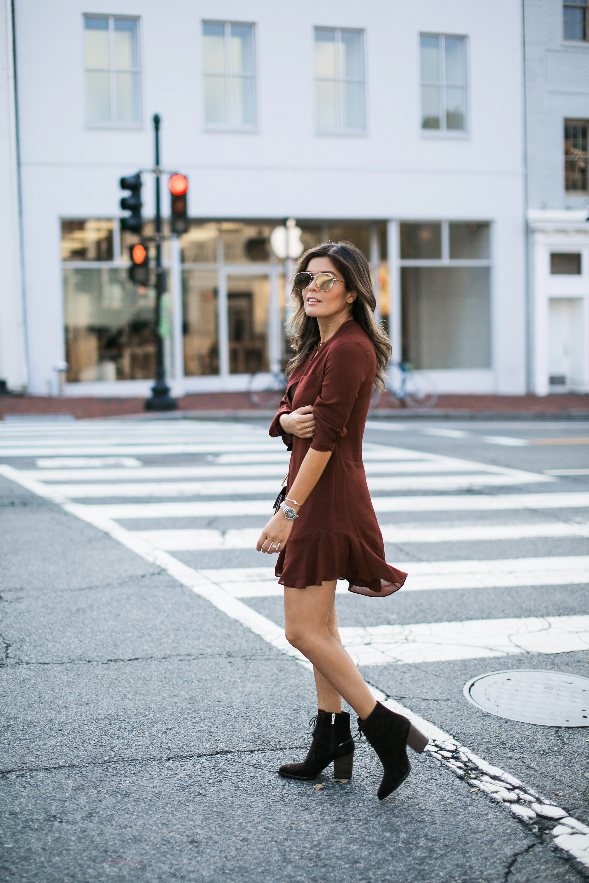 Style MBA wears ALC Dress from Nordstrom