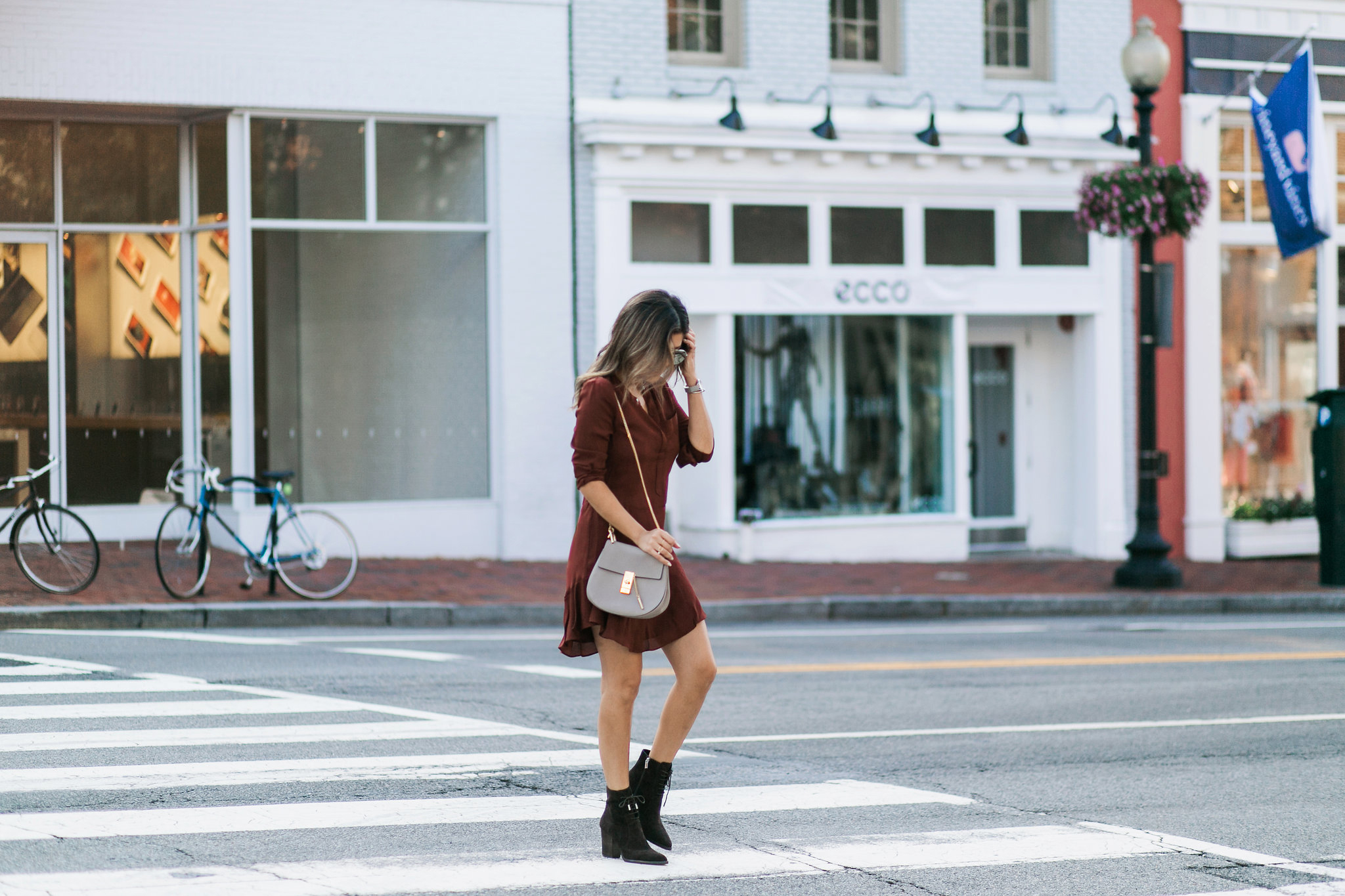 Style MBA wears ALC Dress from Nordstrom and Chloe Drew Bag