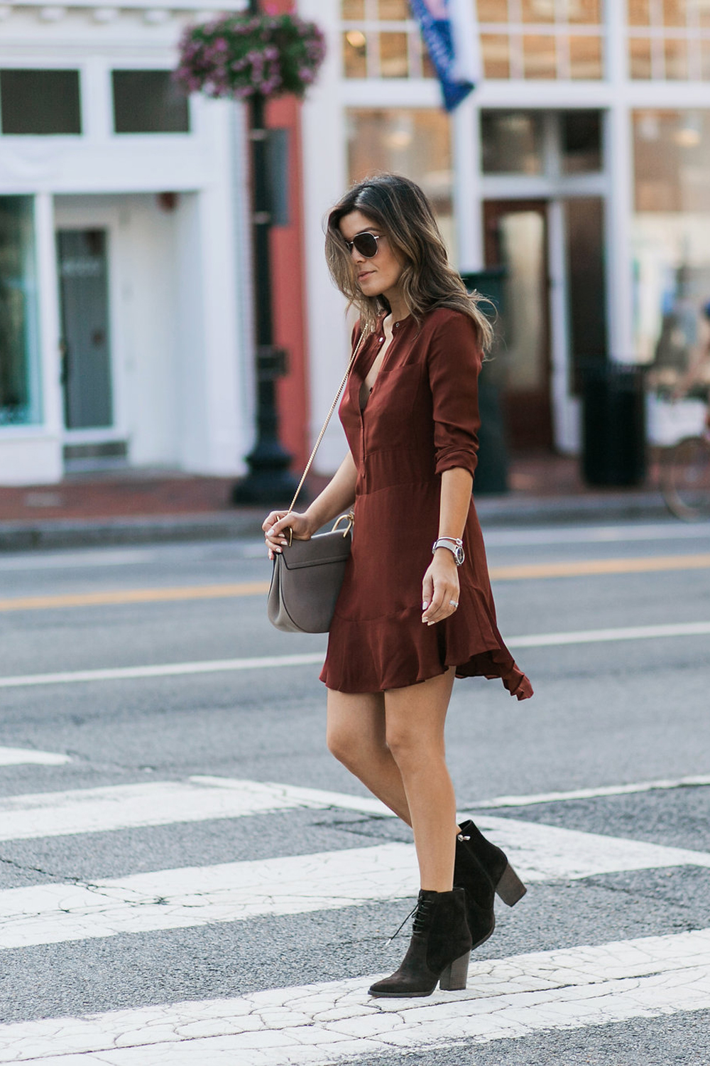 Style MBA Wears burgundy dress and brown booties