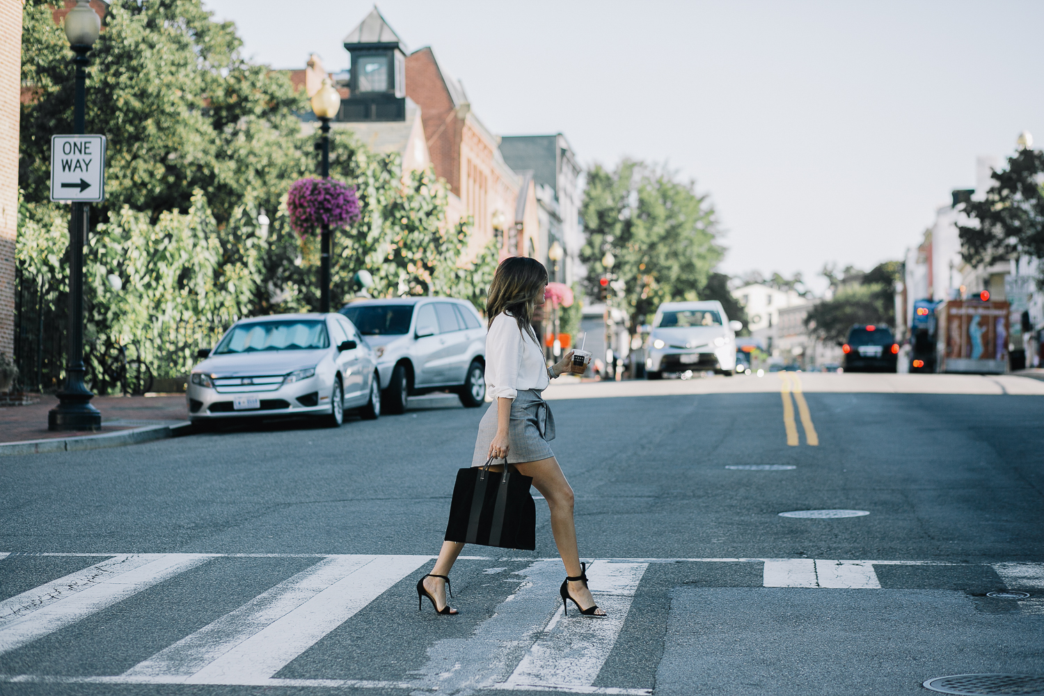 Style MBA wears Clare V Tote at Nordstrom and Steve Madden Bow Sandals