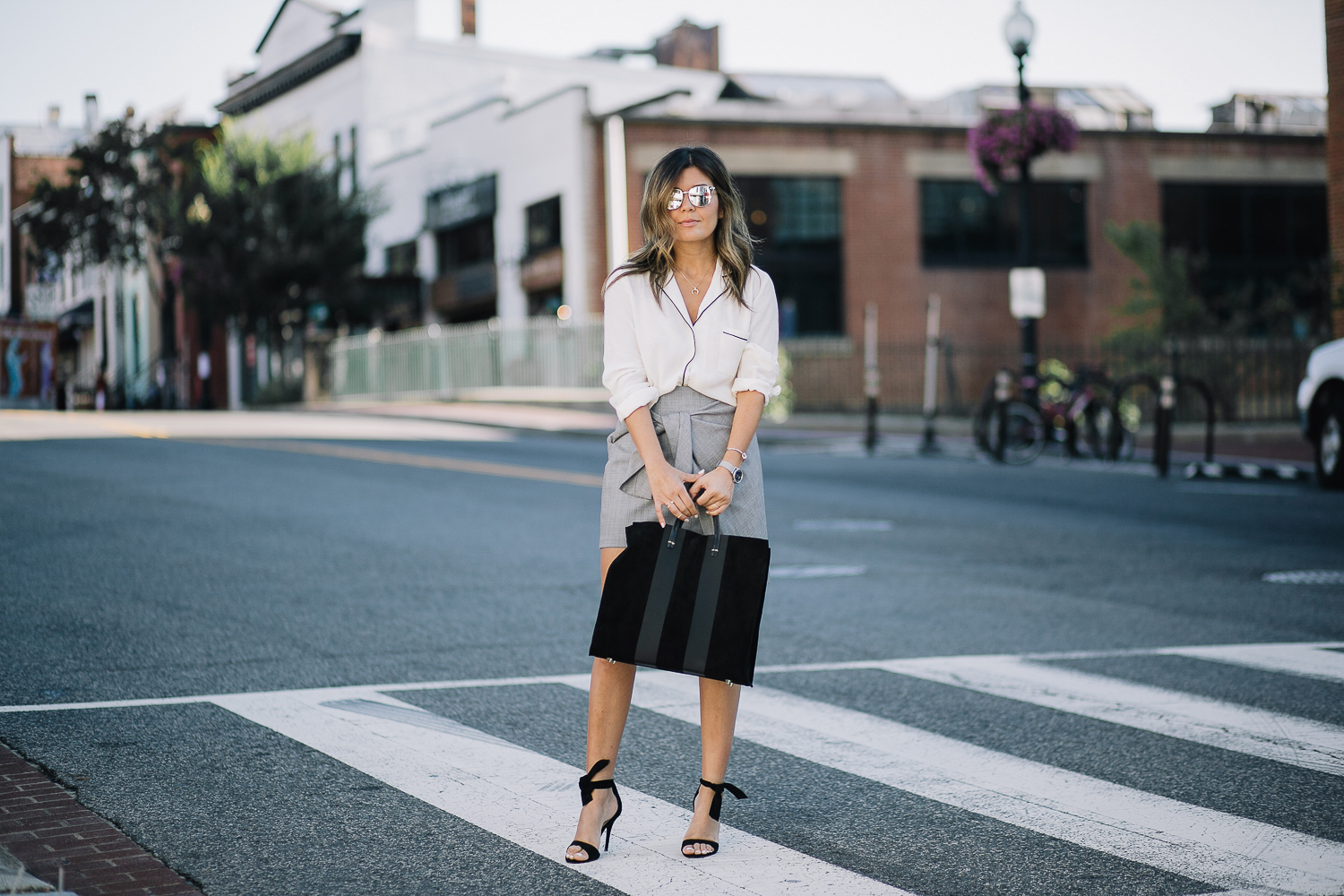 Style MBA wears Clare V. Tote at Nordstrom