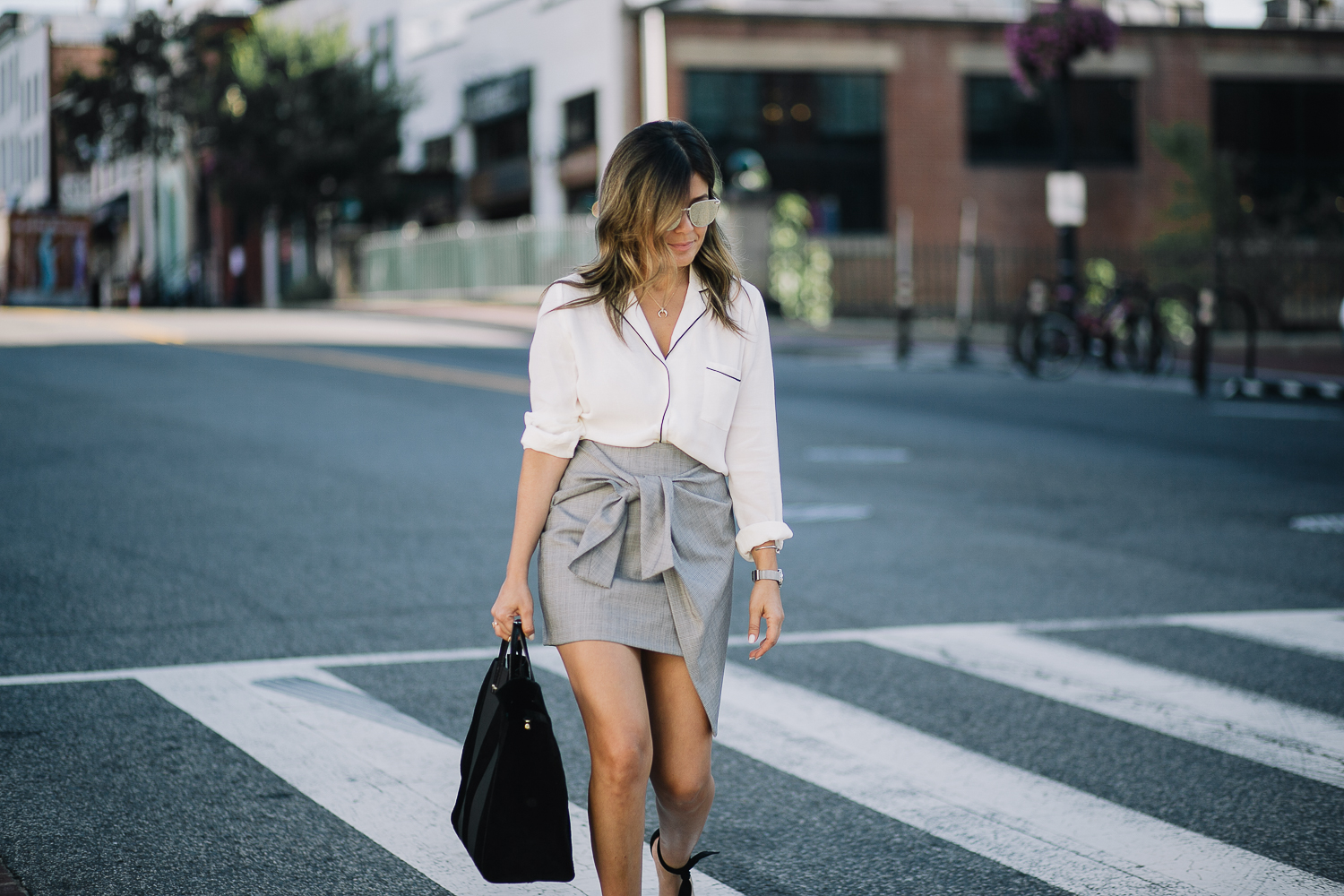 Style MBA wears Clare V Tote at Nordstrom and New Look Top from Asos