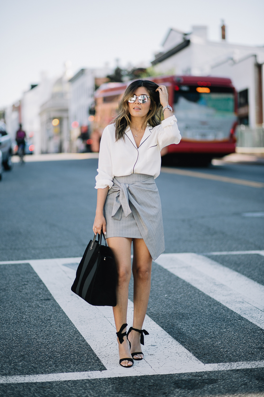 Style MBA wears Clare V. Tote at Nordstrom and Zara Skirt