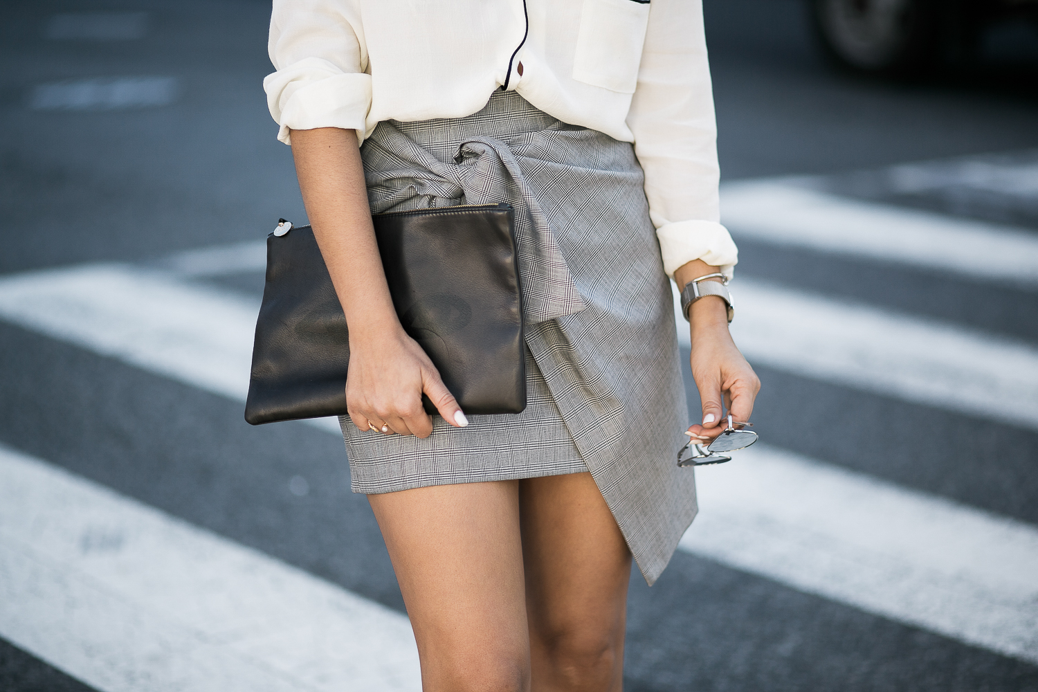 Style MBA wears Clare V Clutch at Nordstrom
