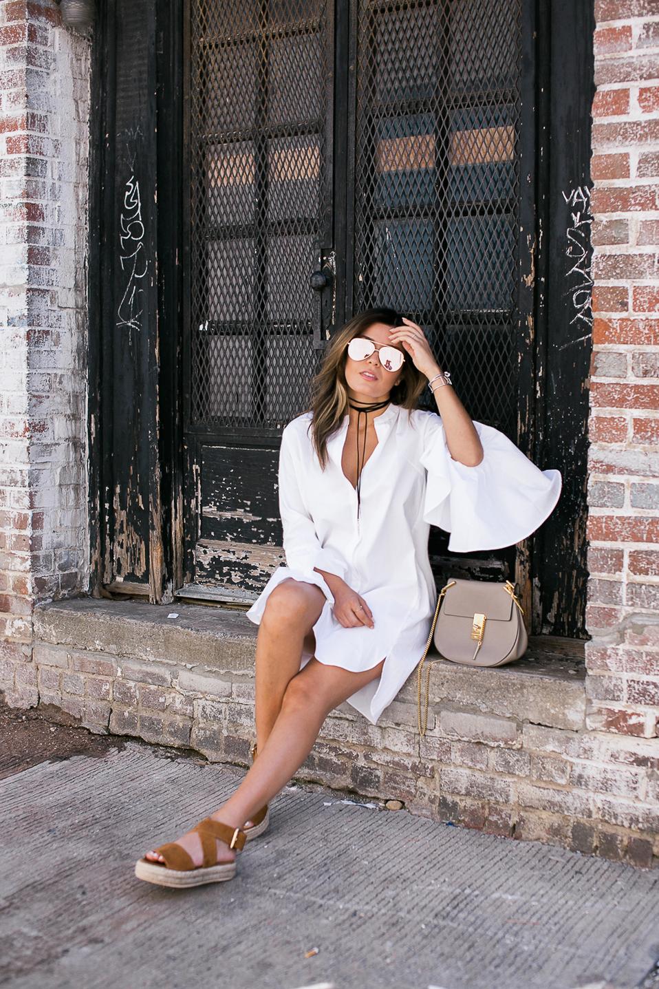 Style MBA wears Storets Shirtdress and Raye Sandals