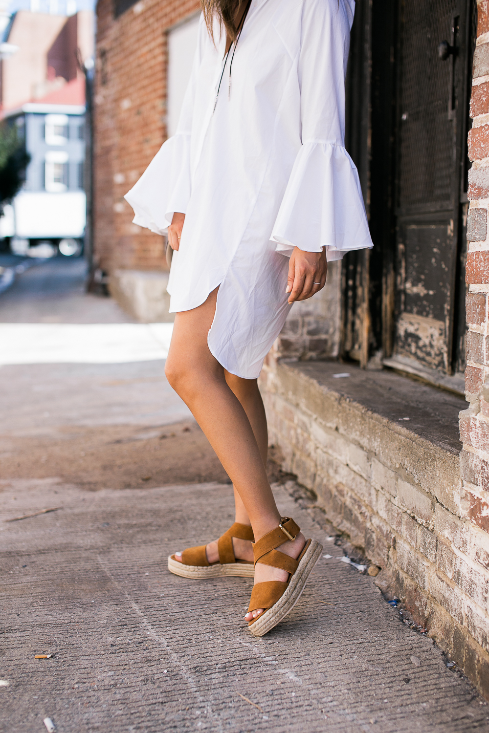 Style MBA wears Shirtdress and Raye Sandals from Revolve Clothing