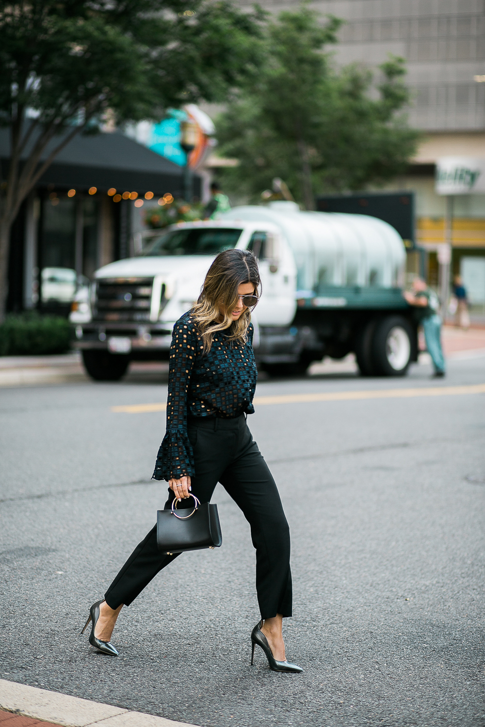 Style MBA wears Ann Taylor Tailored Pants with Metallic Pumps