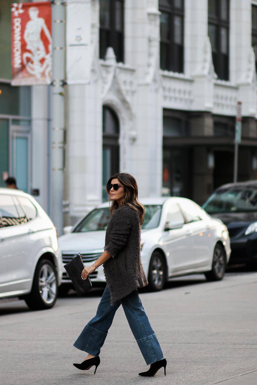Style MBA wears wide leg denim in DC