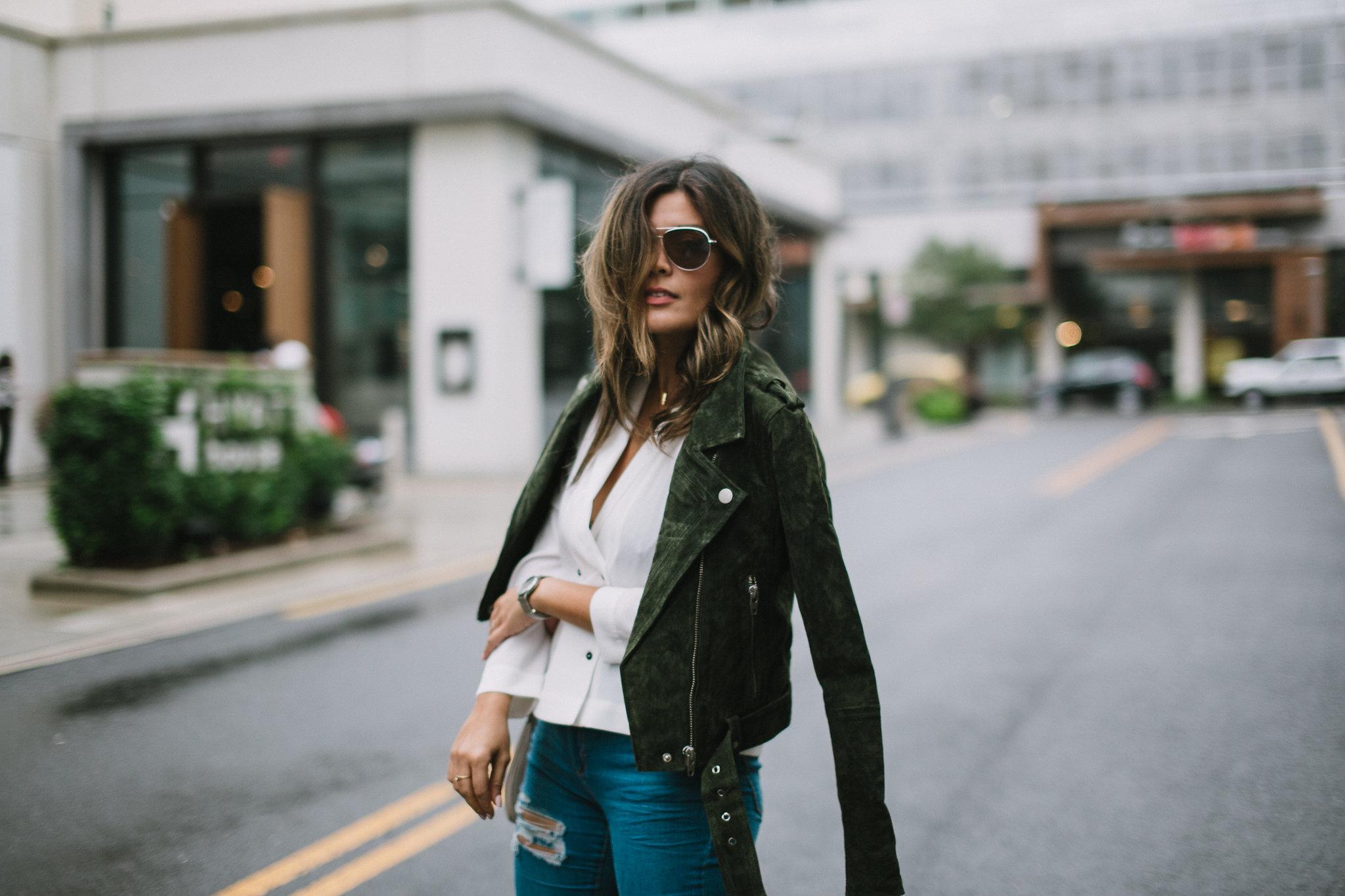 Style MBA wears Nordstrom Suede Moto Jacket