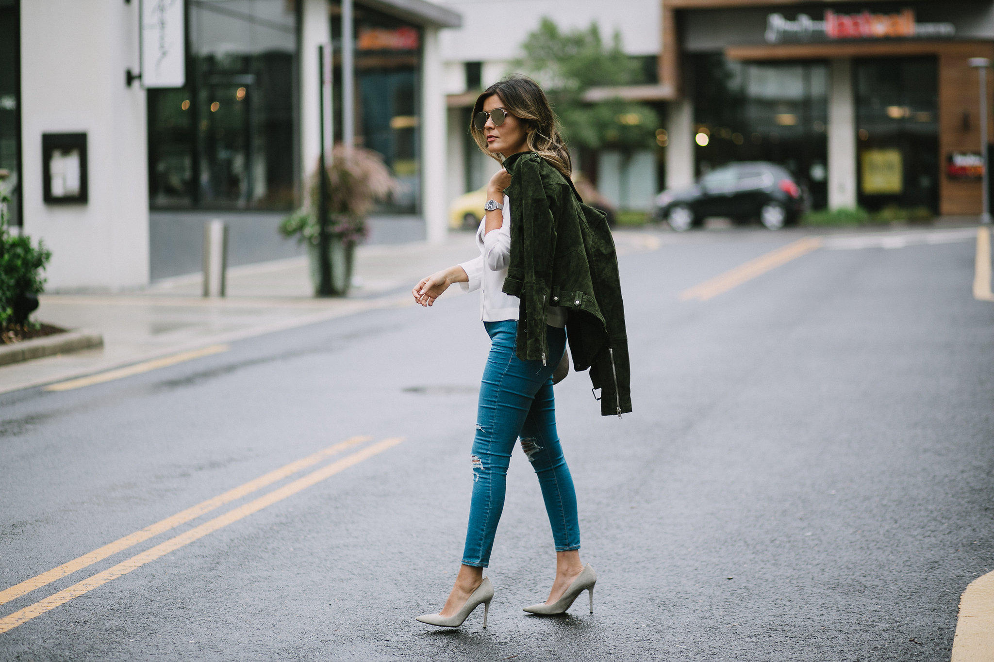 Style MBA wears Nordstrom Suede Moto Jacket and Topshop Jeans