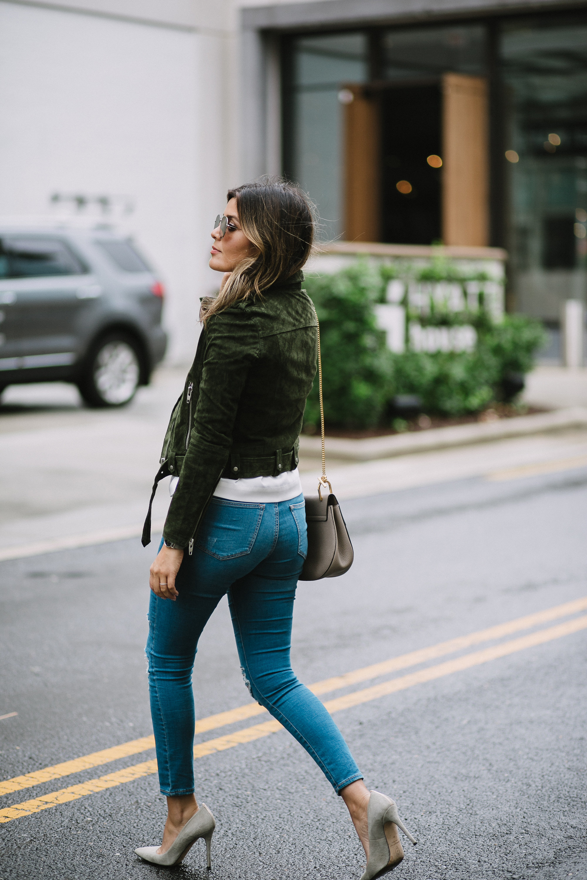 Style MBA wears Nordstrom Suede Moto Jacket and Topshop Denim