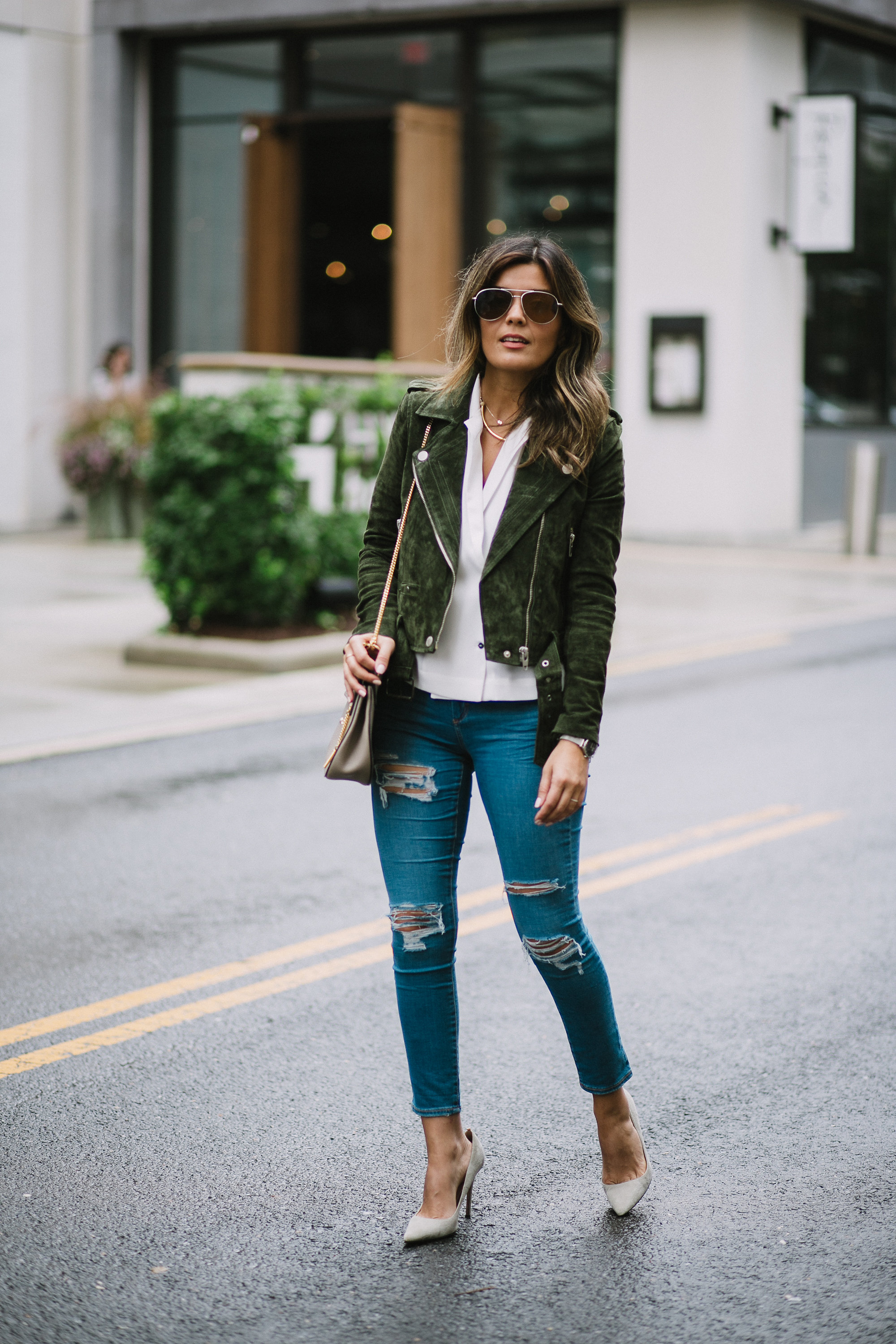 Style MBA wears Nordstrom Suede Moto Jacket from Blank NYC