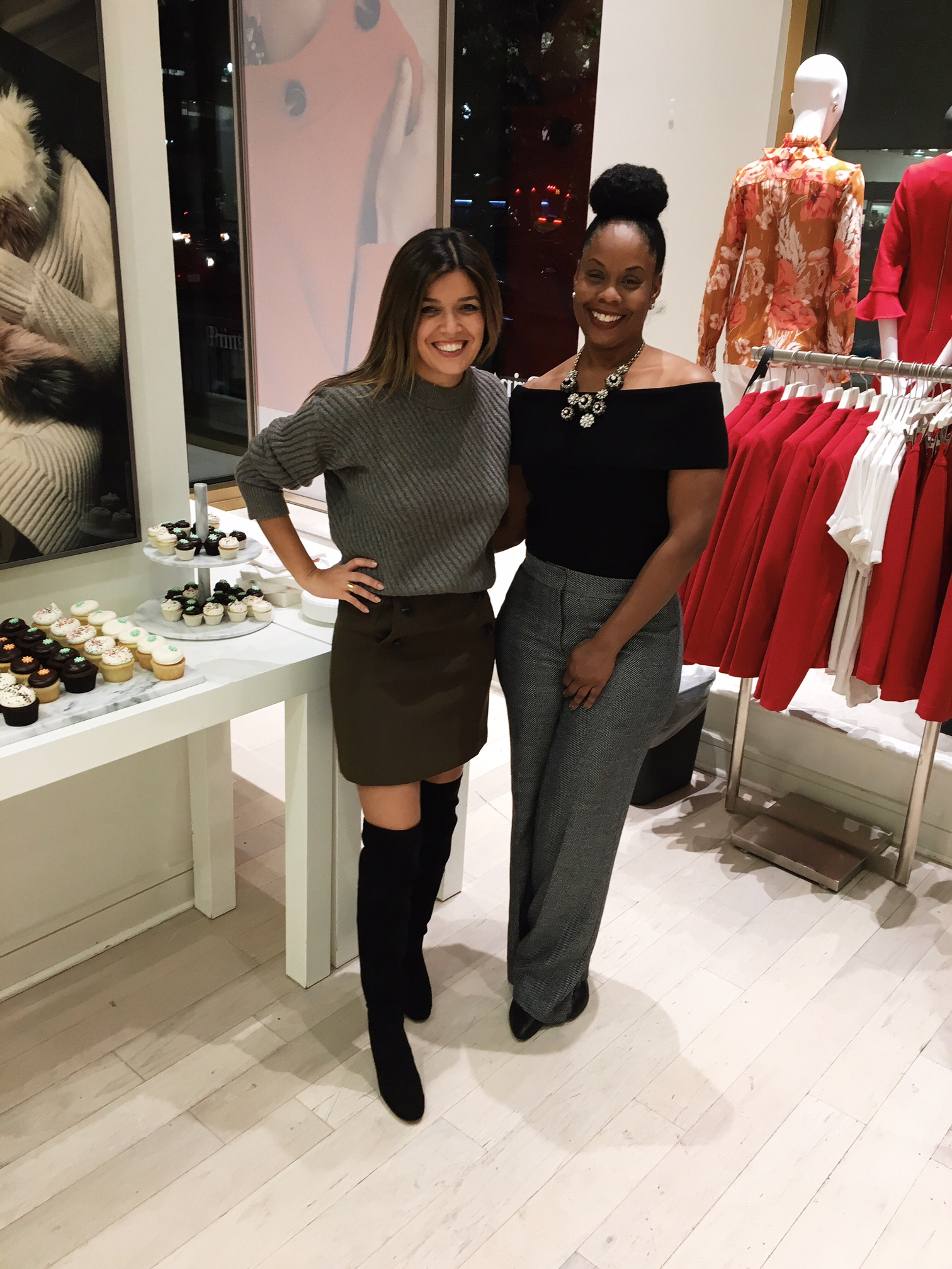 Blogger Sara Azani of Style MBA attends an Ann Taylor event in Washington DC and wears an Ann Taylor Stitched Cashmere Sweater, Ann Taylor Button Fron A-Line Skirt, Ann Taylor Anna Marie Heeled Suede Boots, and Ann Taylor boardwalk Sunglasses.