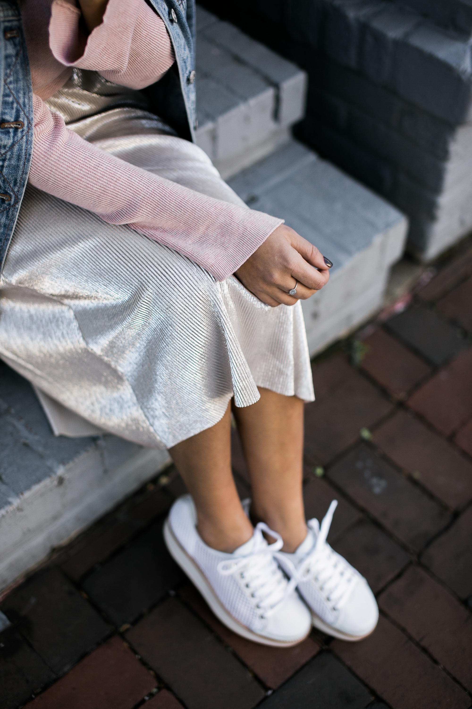 Style MBA wears Who What Wear Collection Skirt and Flamingo Sneakers