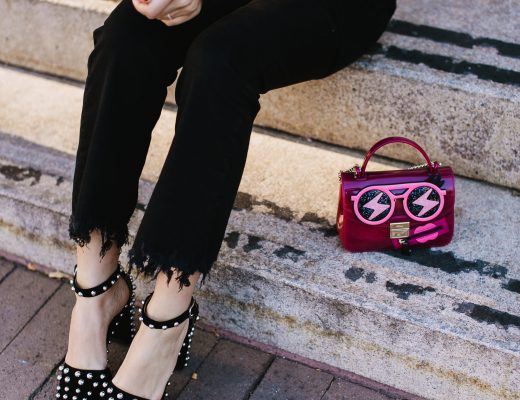 "Blogger Sara Azani of Style MBA wears Alexander Wang Elise studded suede heels, KENDALL + KYLIE Fuzzy Knit Tunic, Gorjana 5 Disc Choker Necklace, Le Specs ""The Prince"" Sunglasses."