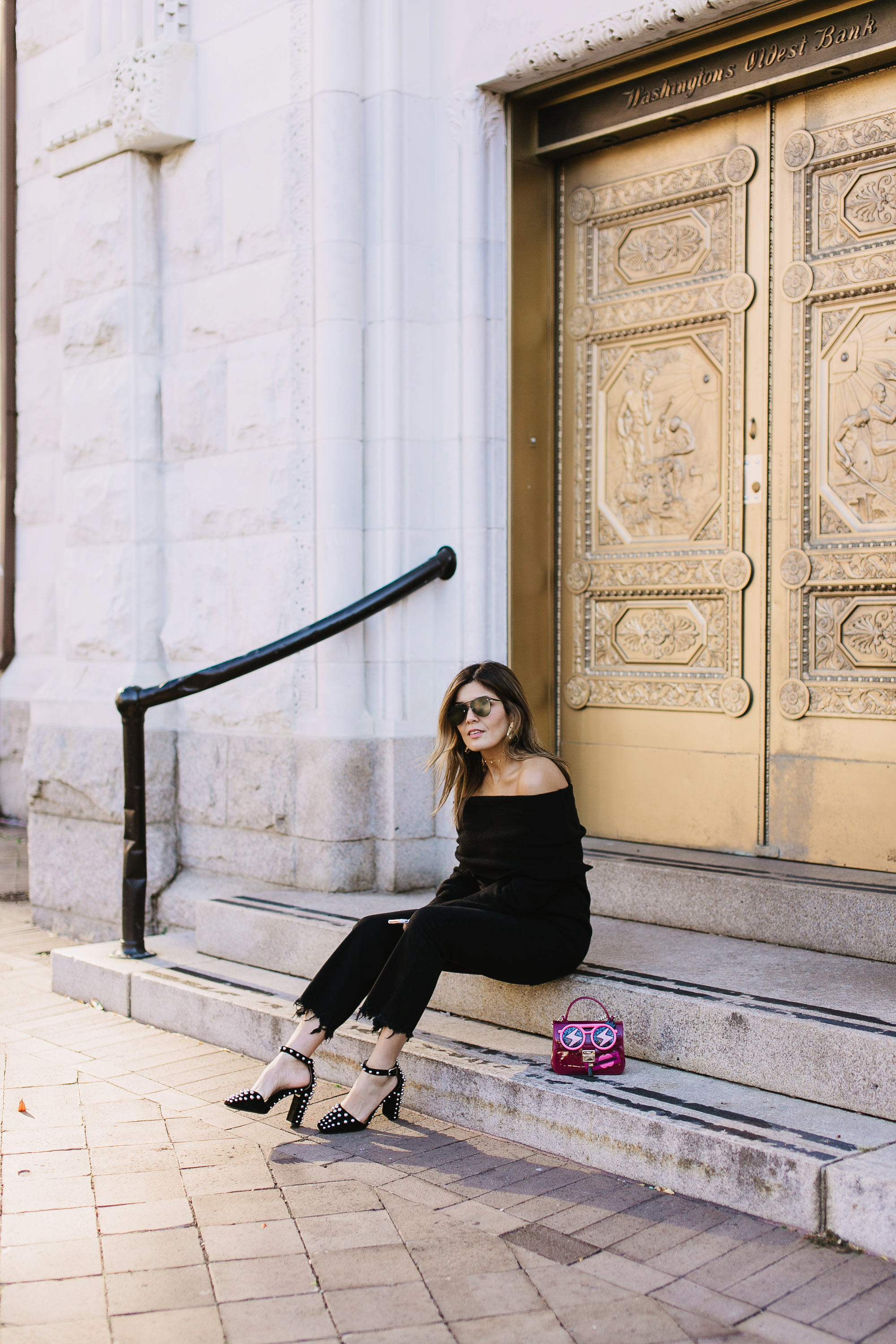 """Blogger Sara Azani of Style MBA wears Alexander Wang Elise studded suede heels, KENDALL + KYLIE Fuzzy Knit Tunic, Gorjana 5 Disc Choker Necklace, Le Specs """"The Prince"""" Sunglasses."""
