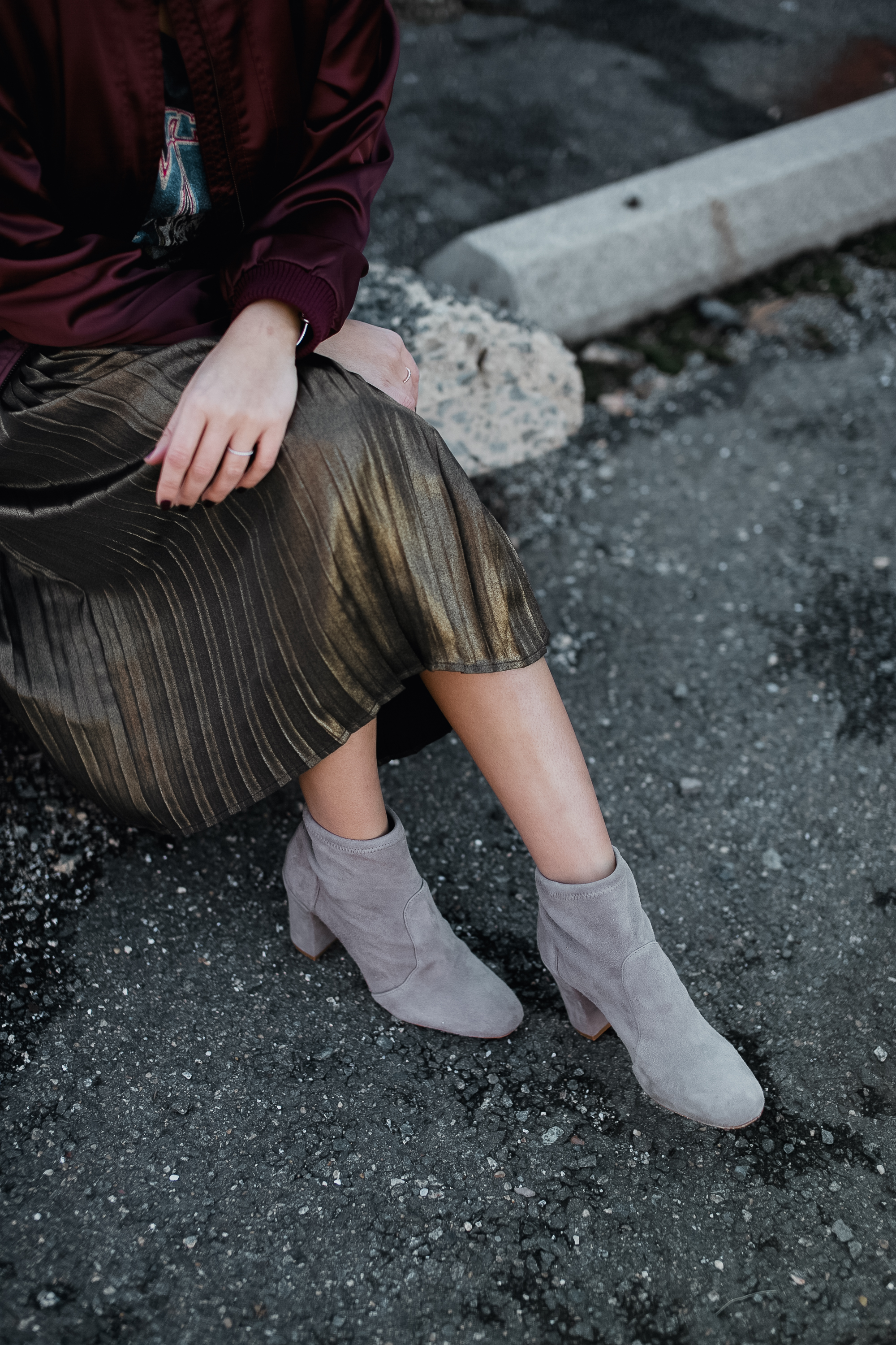 Style MBA Wears Schutz Booties and Metallic Skirt
