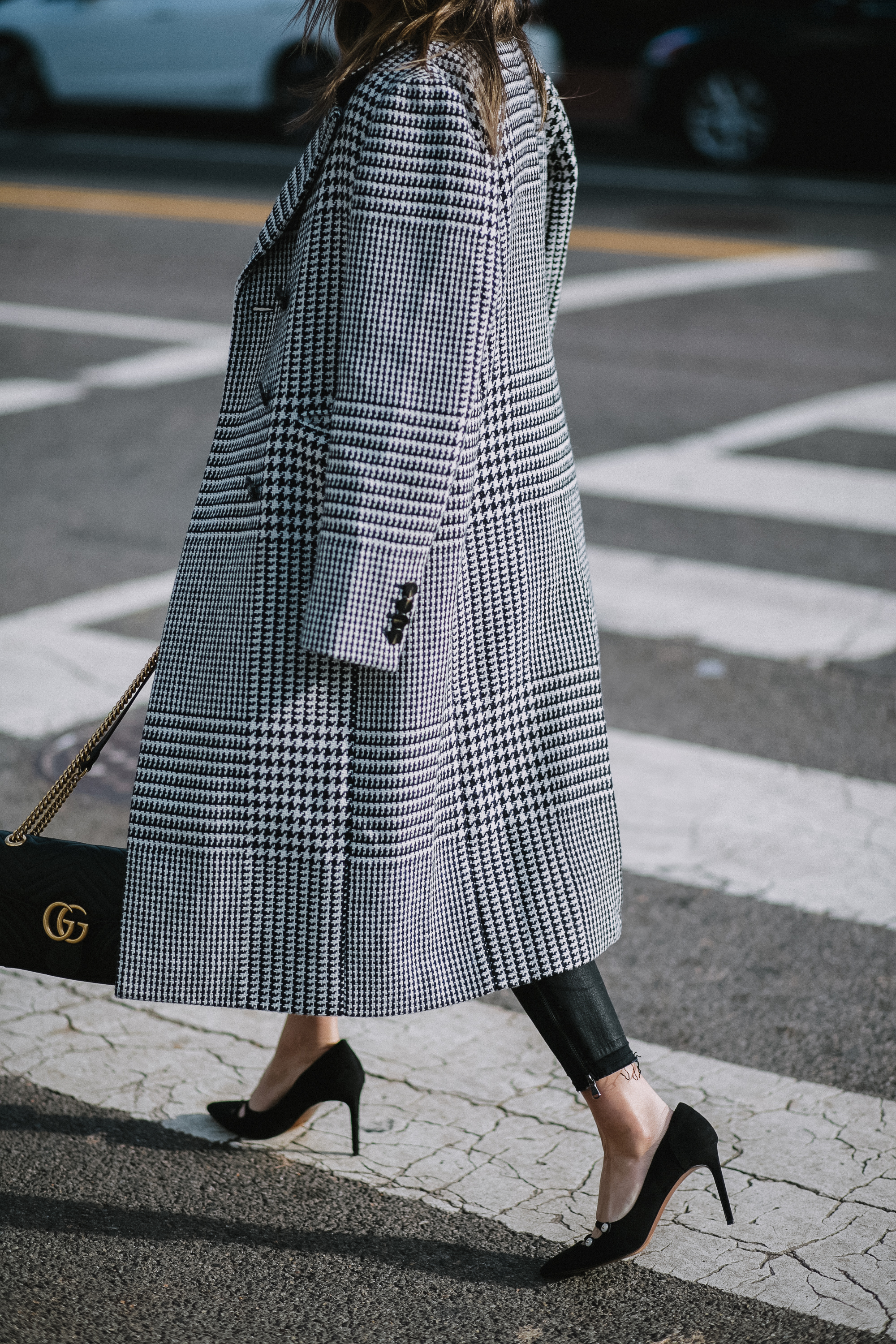 Style MBA Wears Plaid Coat, Gucci Purse, and J Brand Denim