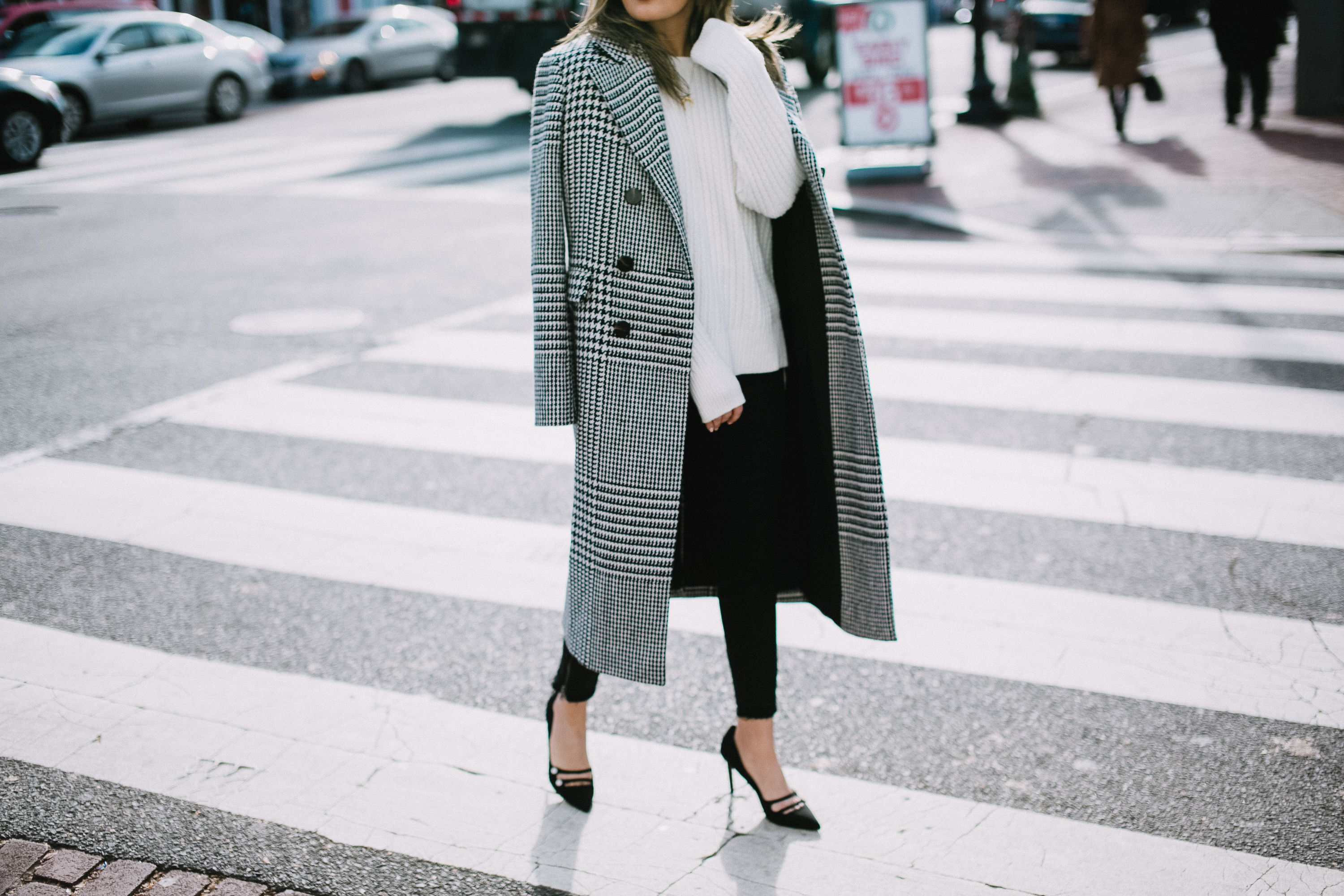 Style MBA Wears Plaid Coat and Who What Wear Pumps