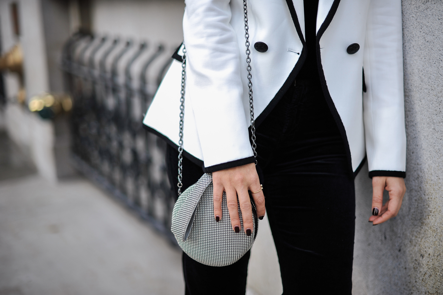 Style MBA Wears Whiting and Davis Mesh Clutch