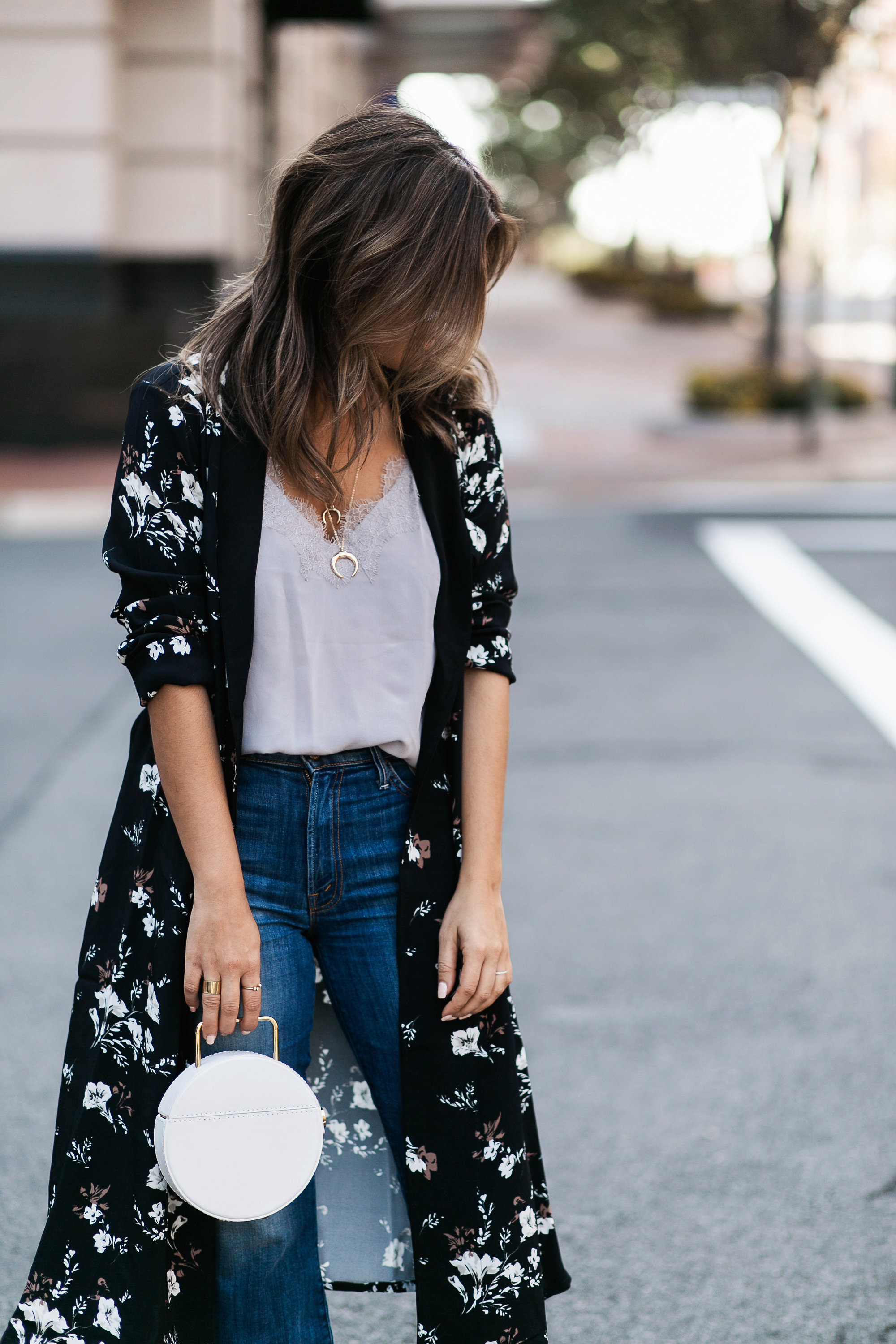 Style MBA Wears L'Academie x Revolve Floral Robe and Mother Denim