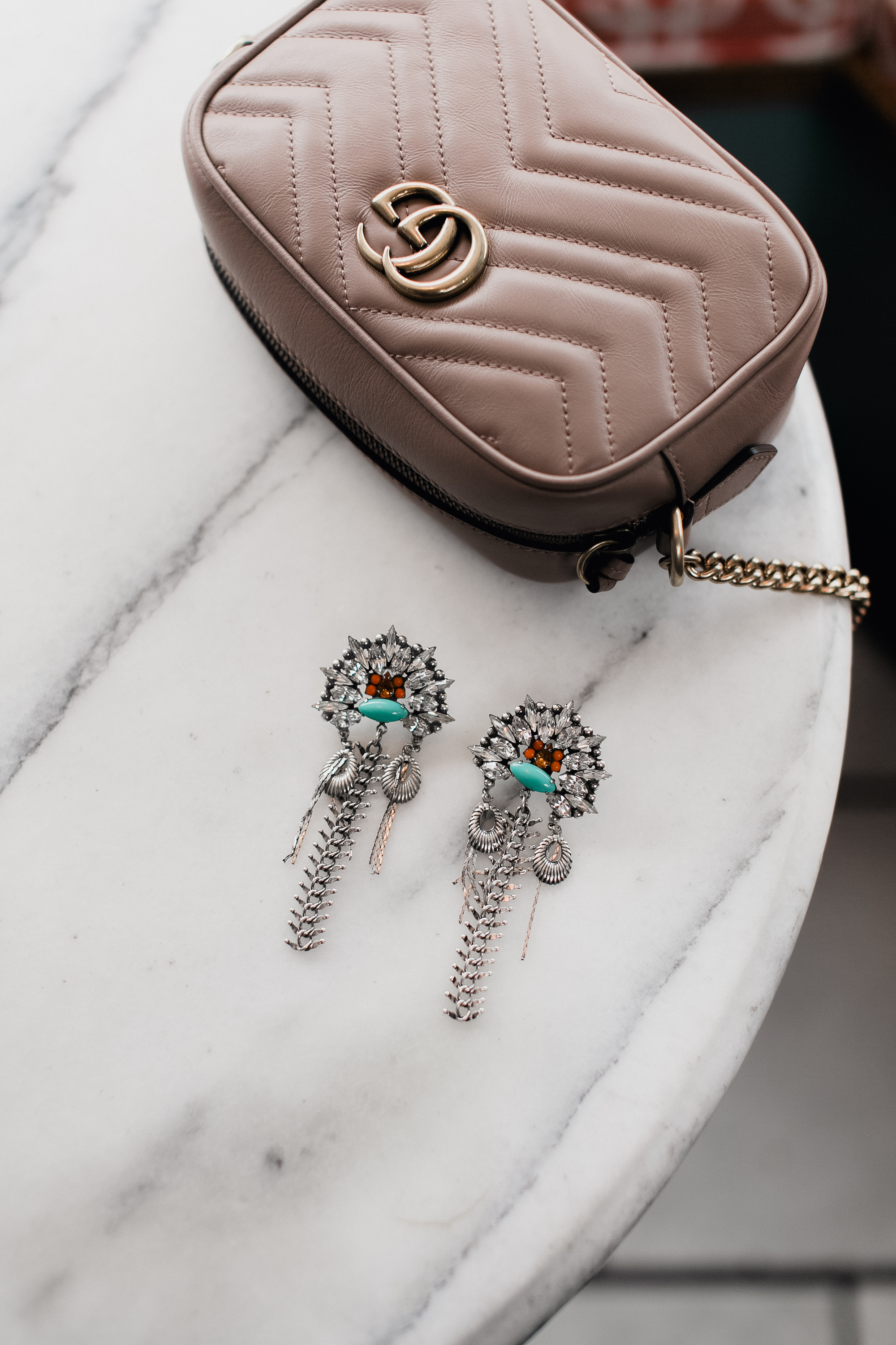 Tan Gucci Bag from Net-A-Porter and Dannijo Earrings