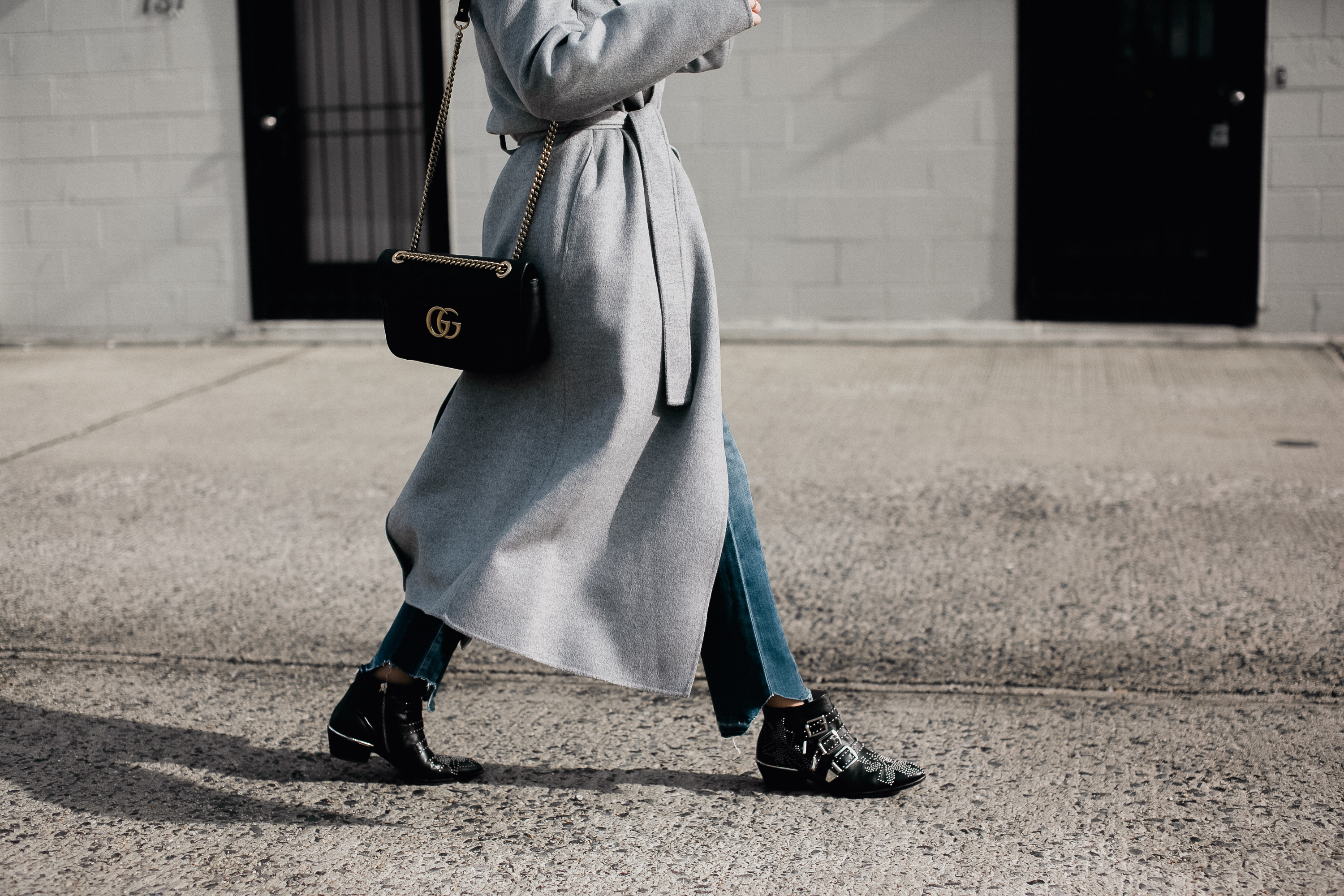 Net-A-Porter Jacket, Jeans, Boots, and Bag