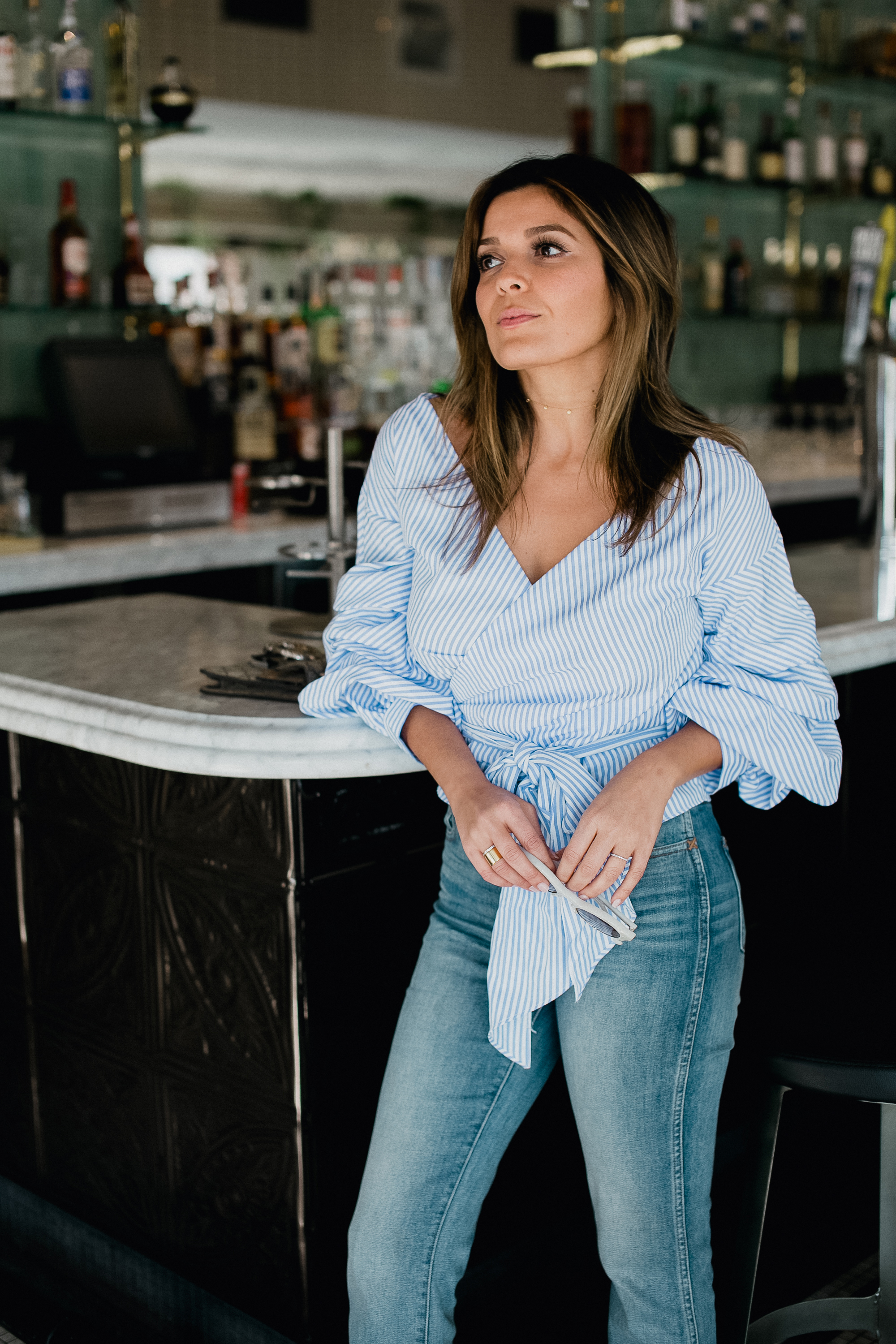 Style MBA Wears Striped Rouched Top and Madewell Denim