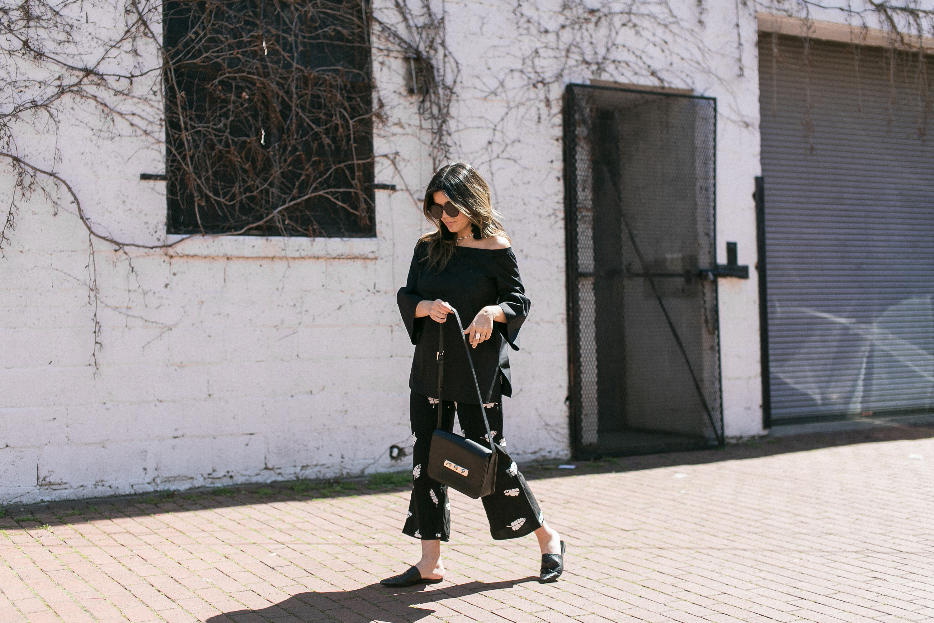 Style MBA Wears Lafayette 148 Top, Slides, and Capulet Zsa Zsa Trousers
